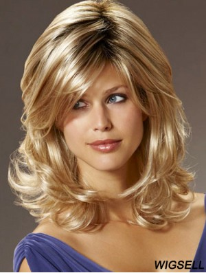 UK Synthetic Hair With Bangs Shoulder Length Blonde Color