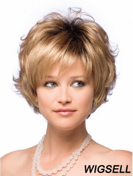 Synthetic Hair UK With Capless Short Length Blonde Color