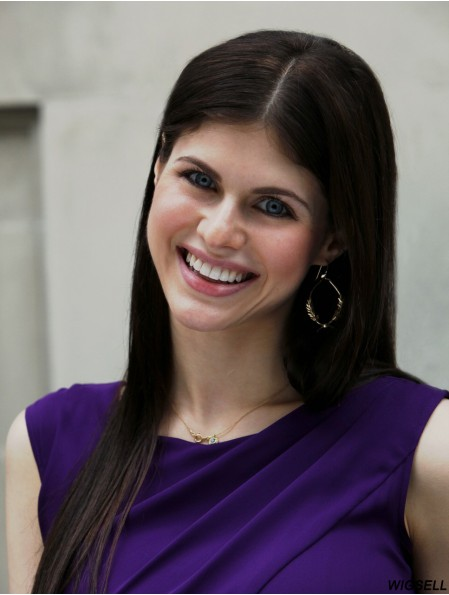 No-Fuss Brown Long Straight 20 inch Without Bangs Alexandra Daddario Wigs