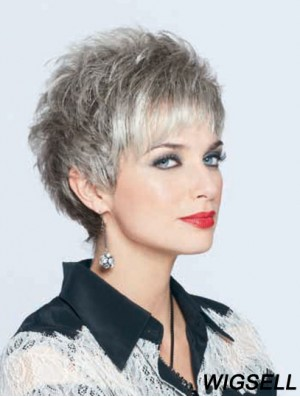 Synthetic Top Cropped Straight Grey Wigs