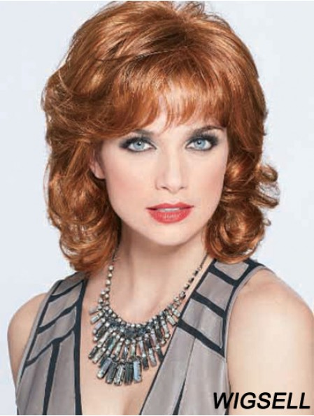 Wigs Online For Elderly Lady With Bangs Shoulder Length Auburn Color