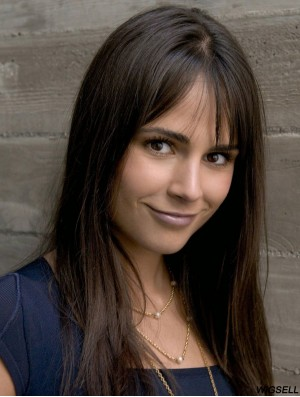 Jordana Brewster Long Length Straight Style Black Color With Bangs