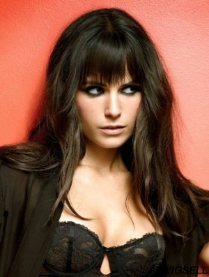 Gorgeous Black Long Straight 16 inch With Bangs Jordana Brewster Wigs