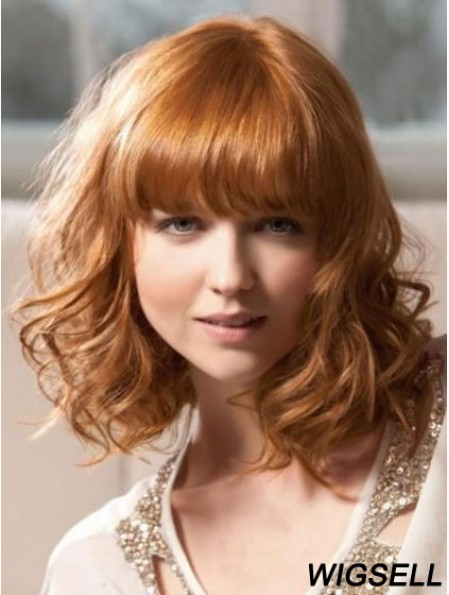 Shoulder Length With Bangs Wavy Blonde Sleek Synthetic Wigs
