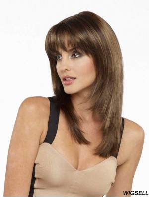 Synthetic Wigs With Bangs With Bangs Long Straight Style Brown Color