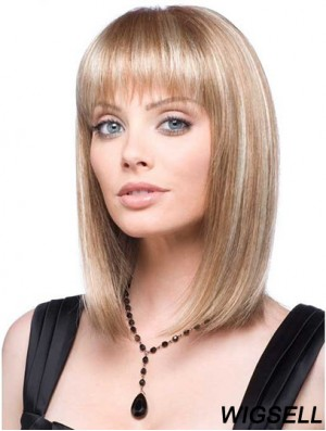 Front Lace Wig Synthetic With Straight Hair Style Blonde Color
