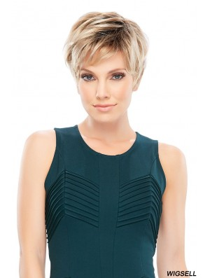 Synthetic 100% Hand Tied Cropped Boycuts Blonde Ladies Mono Wigs