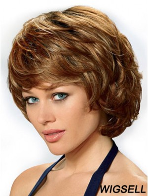 Synthetic Hair Front Lace Wigs UK Chin Length Auburn Color Wavy Style