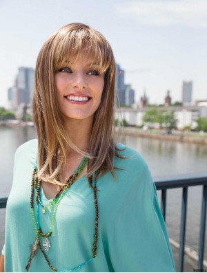 Cheapest Synthetic With Bangs Long Length Straight Style