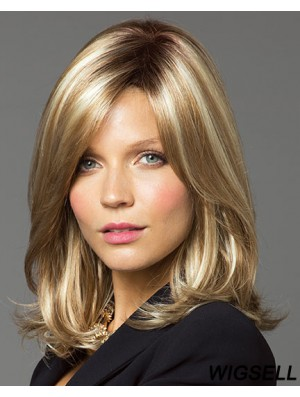 Fashionable Blonde Shoulder Length Straight Layered Lace Front Wigs