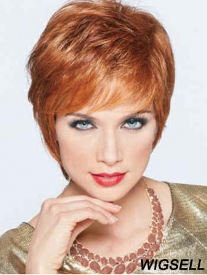 Boycuts Cropped Synthetic Straight Auburn Monofilament Wig Large