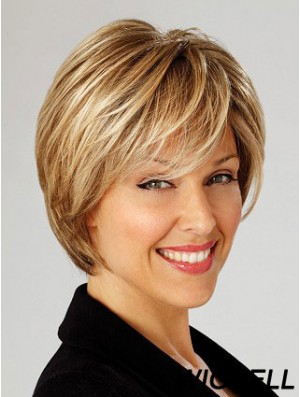 Blonde Short Straight Layered Lace Front Wig Online Store