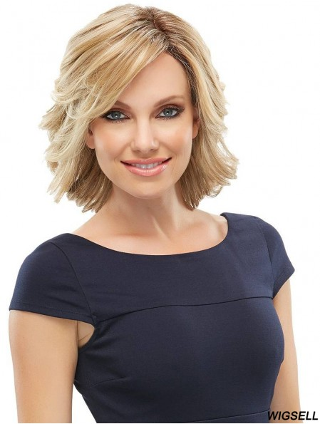 Wavy With Bangs Chin Length Blonde Great Lace Front Wigs