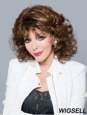 No-Fuss Brown Shoulder Length Curly With Bangs Lace Front Wigs