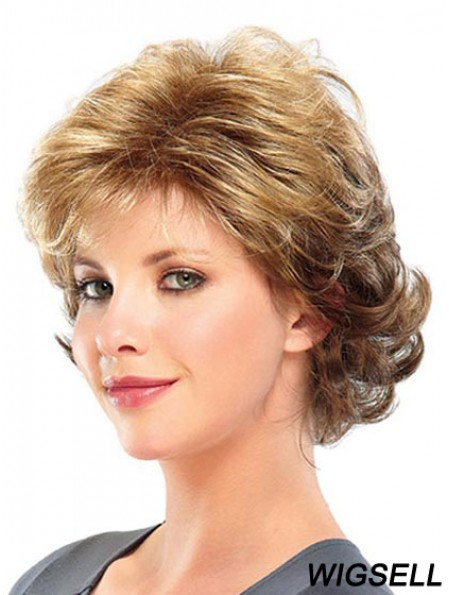 Curly Layered Short Great Blonde Synthetic Wigs