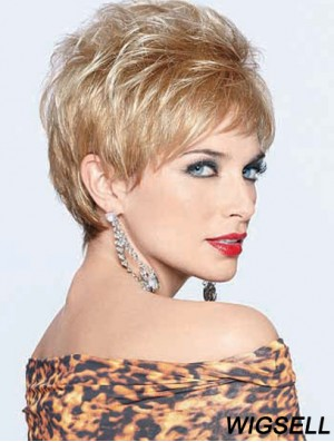 Wigs Synthetic Blonde Color Boycuts Cropped Length Straight Style