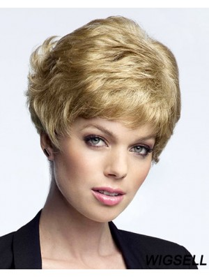 Ideal Blonde Cropped Curly Boycuts Lace Front Wigs