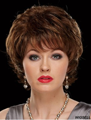 Chin Length Wavy Capless With Bangs 8 inch Stylish Synthetic Wigs