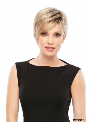 Style Blonde Cropped Straight Boycuts Lace Front Wigs