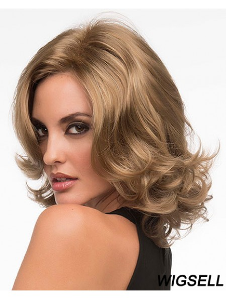 Style Blonde Chin Length Curly Without Bangs Lace Front Wigs