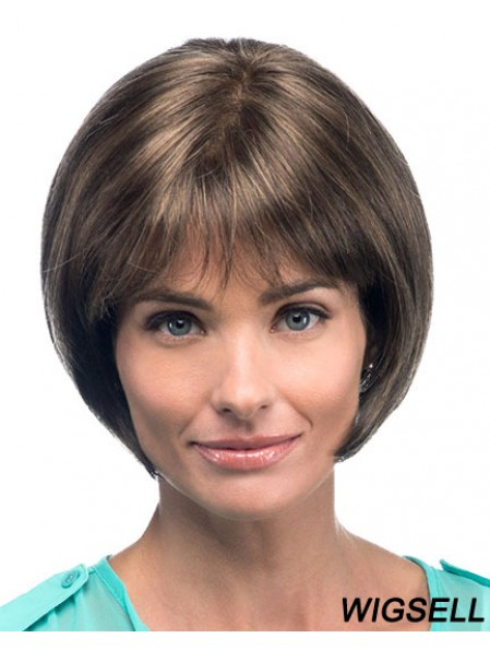 Chin Length Straight Bobs Brown Fashion 100% Hand-tied Wigs