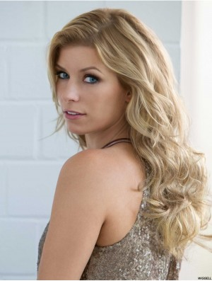 Wavy Without Bangs 18 inch Blonde Cheapest Synthetic Wigs
