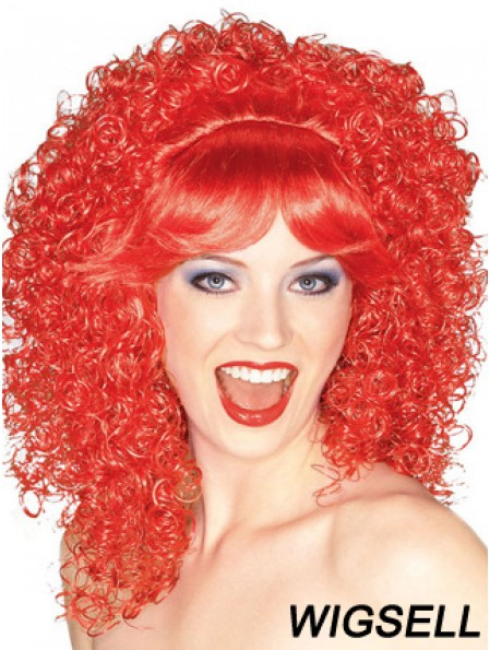 Red Shoulder Length Kinky With Bangs 16 inch High Quality Medium Wigs