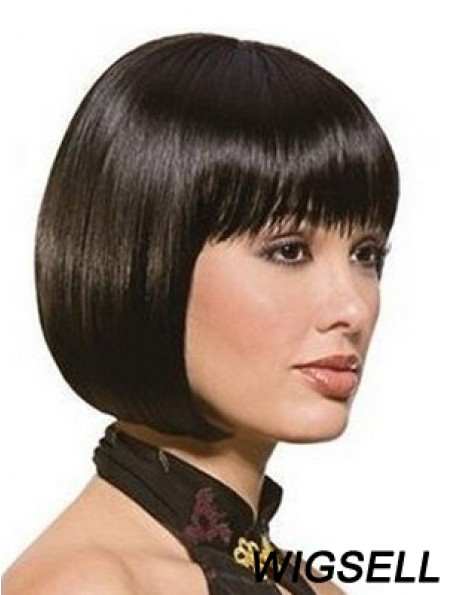 Chin Length Bobs Straight Black Sassy Synthetic Wigs