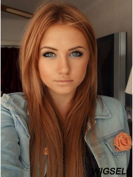 22 inch Straight Without Bangs Lace Front Copper Beautiful Long Bella Thorne Wigs