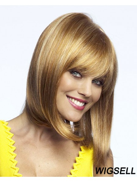 Straight Chin Length Blonde 12 inch Lace Front Top Bob Wigs