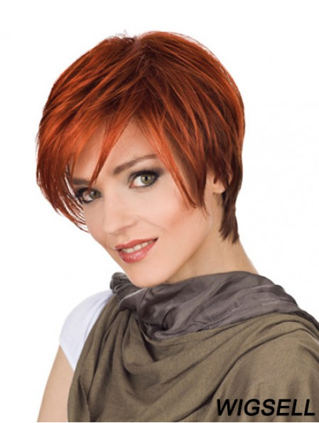 Durable 8 inch Straight Red With Bangs Short Wigs