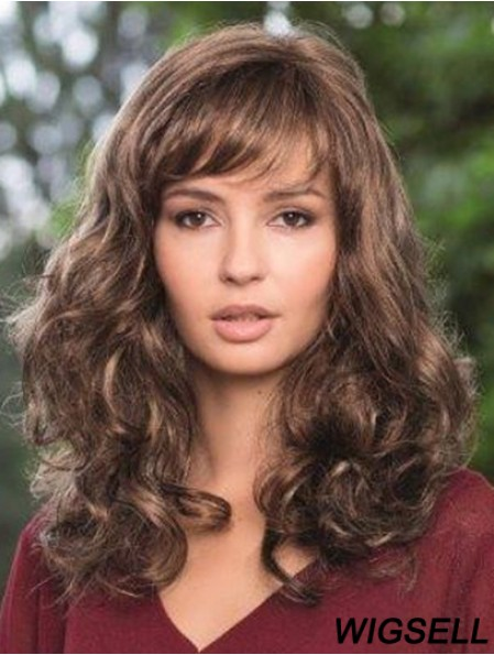 Synthetic Lace Wig Brown Color Wavy Style Long Length Boycuts