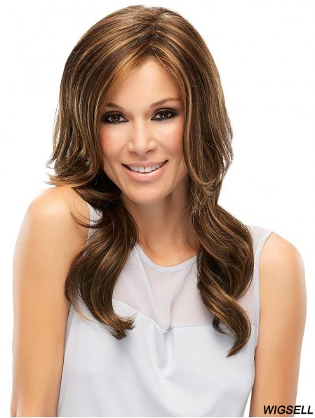 New Brown Wavy Without Bangs Long Wigs