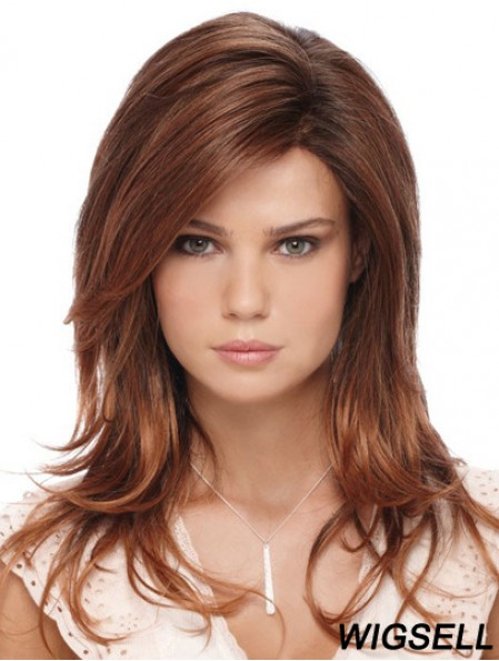 Fashion Auburn Long With Bangs Straight Glueless Lace Front Wigs
