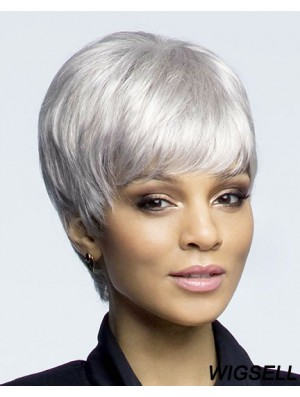 Designed Cropped Straight Grey Lace Front Wigs