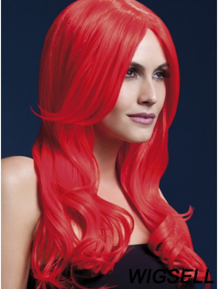 Synthetic Long Hair Wigs Red Color Wavy Style With Capless