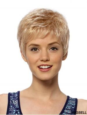 Flexibility 4 inch Straight Blonde Boycuts Short Wigs