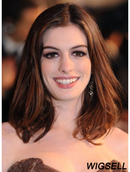 Auburn Shoulder Length Straight Without Bangs Lace Front 14 inch Anne Hathaway Wigs