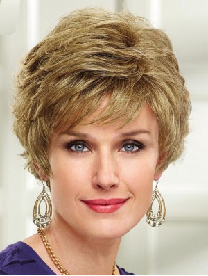 Capless Wig Short Wavy Wig UK For Ladies Cheap