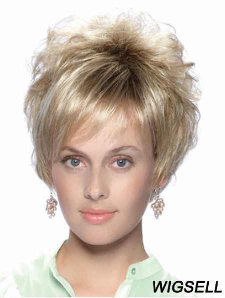 No-Fuss 8 inch Straight Blonde With Bangs Short Wigs