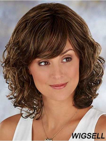 Brown Shoulder Length Wavy With Bangs 13 inch High Quality Medium Wigs