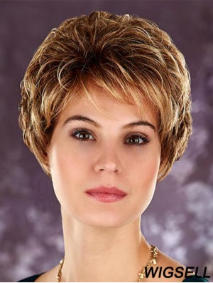 Hairstyles Blonde Cropped Layered Wavy Glueless Lace Front Wigs
