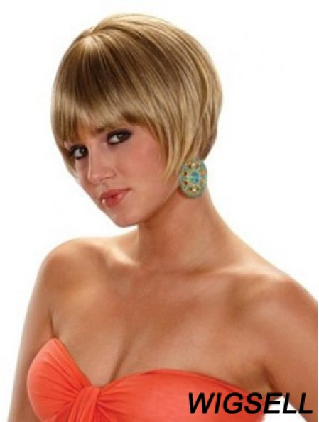 Short Bobs Straight Blonde Cheap Synthetic Wigs