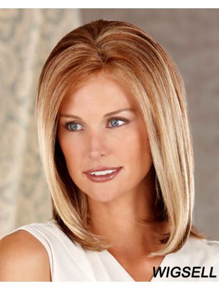 Straight Without Bangs Shoulder Length Brown Stylish Lace Front Wigs
