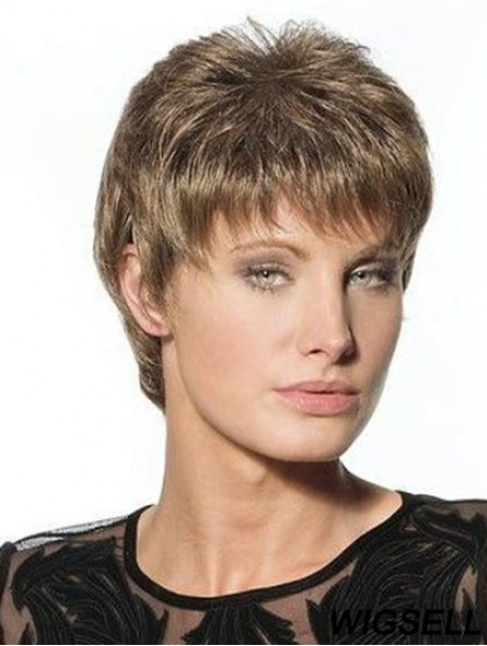 Suitable Brown Cropped Boycuts Straight Glueless Lace Front Wigs
