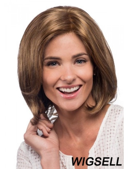 Straight Shoulder Length Brown 12 inch Lace Front No-Fuss Bob Wigs