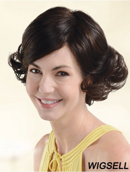 Durable Auburn Chin Length With Bangs Wavy Glueless Lace Front Wigs