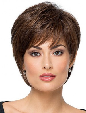 """Suitable 8"""" Straight Brown With Bangs Short Wigs"""