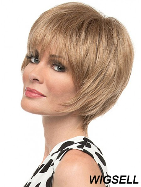 """Fashion 8"""" Straight Blonde With Bangs Short Wigs"""