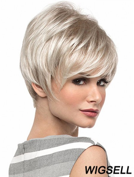 Popular 8 inch Straight Blonde With Bangs Short Wigs